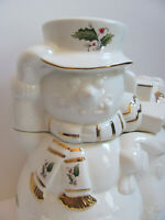 Holly Holiday-Home for the Holidays -Holly w/ Gold Rim -Snowman Cookie Jar