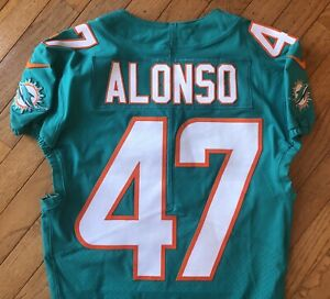 NFL MIAMI DOLPHINS KIKO ALONSO GAME ISSUED WORN USED JERSEY OREGON NICE!