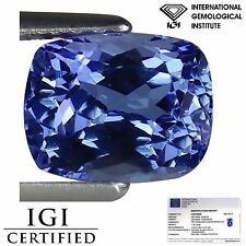 1.70 Ct IGI Certified AA Natural DBlock Tanzanite Blue Violet Color Cushion Cut