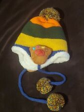Children's Boys or Girls Fleece Lined Winter Hat Multicolor Striped w/ Paws?