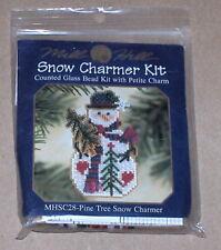 """Mill Hill Snowman """"Pine Tree Snow Charmer"""" Glass Bead Kit w/ Charm NIP"""