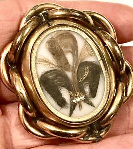Georgian Era Mourning Brooch Memento Mori Macabre Brooch Human Hair Wales Coil