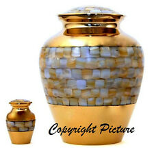 Elite Mother of Pearl Cremation Urn, Adult, Brass, Funeral - New!