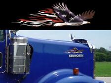 2 PATRIOTIC Flamed Eagle decals for Mack Peterbilt Kenworth Freightliner Volvo