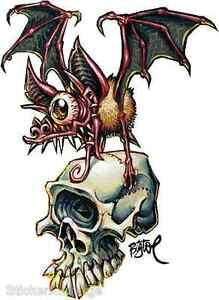 Skull Bat Sticker Decal Artist Big Toe BT58