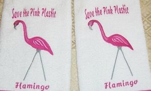 SAVE THE PLASTIC PINK FLAMINGOS EMBROIDERED SET 2 BATHROOM HAND TOWELS by laura