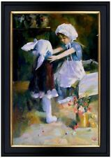 Framed, Young Sisters, Quality Hand Painted Oil Painting 24x36in