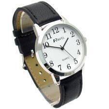 Ravel Mens Super-Clear Easy Read Quartz Watch Black Strap White Face R0132.01.1