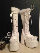 Demonia camel 311 white knee high platform boots women's size 8