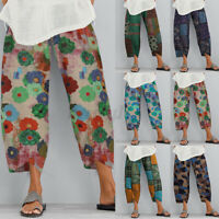 Women Summer Elastic Waist Floral Print Cotton Trousers Casual Loose Cargo Pants