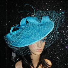 FAILSWORTH OCEAN BLUE WEDDING ASCOT HAT DISC FASCINATOR MOTHER OF THE BRIDE