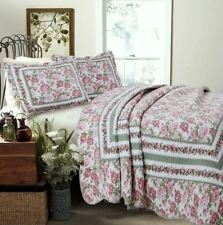 PINK ROSE GARDEN Full Queen QUILT SET : GREEN SHABBY FLORAL BUSH COVERLET