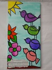 Original folk art painting Of Birds 16x8 acrylic on canvas one of a kind inv242