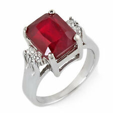 Estate ring 6.4 ct natural ruby and diamond 14k gold