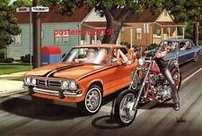 David Mann Art Motorcycle Poster Kiss on a Dare Print