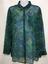 J. Jill Womens M Green Blue Cross-Hatch Sheer Chiffon Long-Sleeve Blouse Shirt