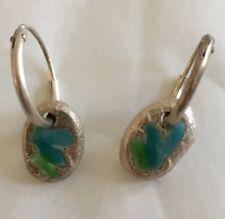 Arts & Crafts Silver Blue Enamel Drop Earrings
