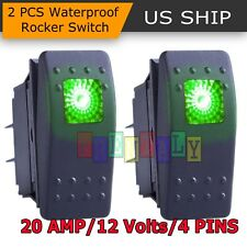 2x Green S2 4Pin Waterproof 12V 20A Bar Rocker Toggle Switch LED Light Car Boat