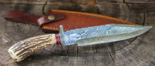 "14"" INCH CUSTOM HAND MADE DAMASCUS STEEL HUNTING BOWIE KNIFE DEER ANTLER HANDLE"