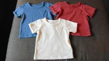 M&S Set of 3 100%Cotton S/Sleeved T-Shirts 0-3m 62cm Blue, Wine, Cream BNWT