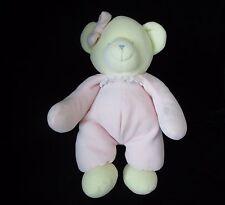 "Stephan Baby Pink Yellow Girl Bow Bear Velour Plush Soft Toy 12"" Sewn Eyes"