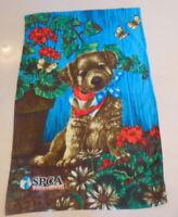 SPCA International 32 x 47 Fleece Dog/flowers Red, White & Blue Bandanna NWT