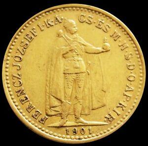 1901 KB GOLD HUNGARY 10 KORONA 3.3875 GRAMS EMPEROR FRANZ JOSEPH COIN