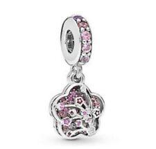 Sterling Silver Bead Pave Peach Blossom Flower Charm Fit European Bracelet