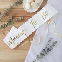 White & Gold Foiled Mum MUMMY TO BE sash Oh Baby! Baby Shower Party Accessories