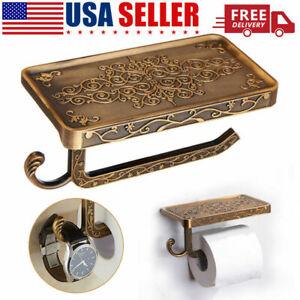 Bathroom Roll Tissue Rack Brass Toilet Paper Phone Holder with Storage Shelf USA