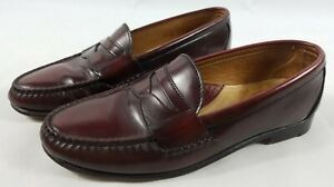 FOOTJOY Burgundy Leather Penny Loafers Dress Shoes Golf Foot Joy Size 9 1/2 D
