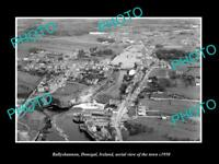 OLD LARGE HISTORIC PHOTO OF BALLYSHANNON IRELAND, AERIAL VIEW OF TOWN c1950 3