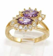 Sterling Silver Gold Vermeil Double Purple Amethyst Clear CZ Ring Size 6.75