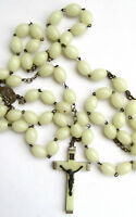 """Vintage glow in dark rosary 31"""" Made in Italy"""