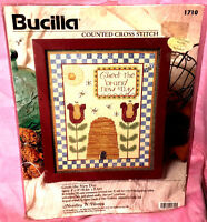 New Bucilla Greet The New Day Counted Cross Stitch Kit Flower Honeybees Hive Bee