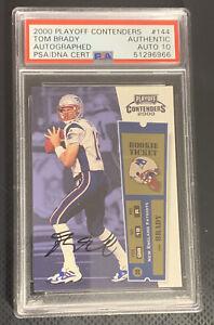 2000 Playoff Contenders Tom Brady Rookie Ticket Auto 144 PSA Authentic / Auto 10