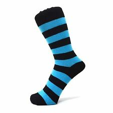 Black And Turquoise Blue Thick Striped Ankle Socks (Size: 6-11)