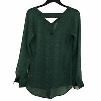 CAbi Womens XS Green Bountiful Floral Cutout Blouse Long Sleeve Sheer Top 5208