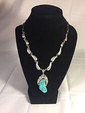 Turquoise Leaves necklace J60 Vintage Native American Signed Sterling