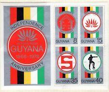 GUYANA INDEPENDENCE 10TH ANNIVERSARY 1976 SOUVENIR SHEET MNH