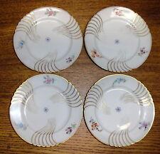 "4 Small Jean Pouyat Limoges France Porcelain Floral Dishes / Plates - 5 5/8"""