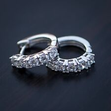 Lab Simulated Diamond White Gold Sterling Silver Iced Hoop Earrings For Men
