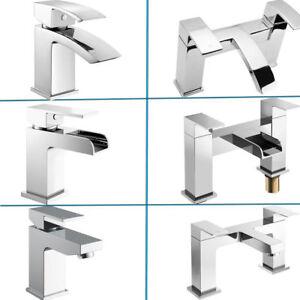 Modern Bathroom Square Waterfall Tap Set Basin Mixer Bath Filler Shower Chrome