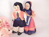 "Boy Girl Antique Doll Set  8"" Fabric Felt Mask Face Italian Heritage VTG 1930s"