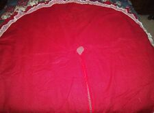 CHRISTMAS TREE SKIRT HOME MADE RED / GREEN W/ SMALL PRINTREVERSIBLE W/ RUFFLE