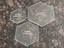"Quilting Templates- 3 Piece Hexagon Set - 2"", 3"" and 4""  1/8"" Clear Acrylic"