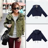 New Womens Hoodie Drawstring Army Green Military Trench Parka Jacket Hooded Coat