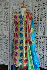 Colourful embroidered churidaar Kameez suit Size UK 10 EU 36 – preloved SKU15875