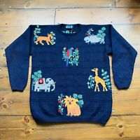 Tulchan Vintage Navy Animals Jumper Size L Zoo Jungle Kitsch Embroidery Knitted