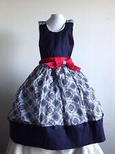Blue Girl Dress Pink Size 10 Taffeta Cotton Print  Birthday Pageant Handmade